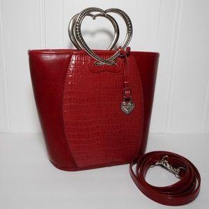 Brighton Inspired Red Heart Handle Bucket Handbag